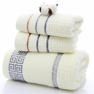 长城格全棉毛巾浴巾三件套礼品套巾