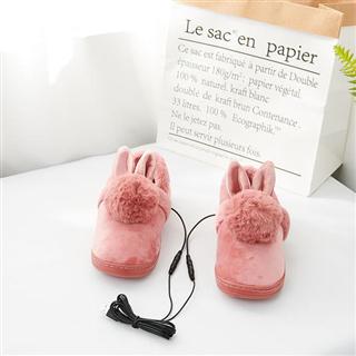 冬季保暖鞋子电脑USB加热暖脚宝暖脚鞋电加热鞋毛绒可拆洗走动