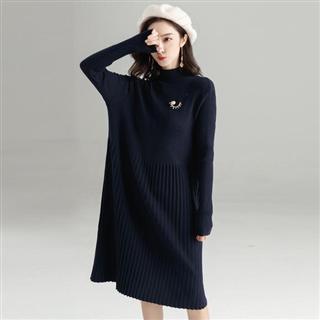 【文艺风针织连衣裙】百褶气质显瘦中长款针织毛衣连衣裙