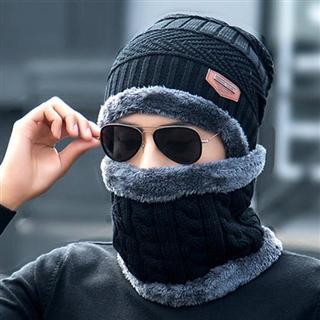 【电瓶车挡风保暖两件套】加绒加厚针织帽防风围脖