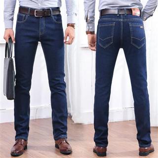 【男款加绒加厚牛仔裤】直筒修身商务休闲弹力裤
