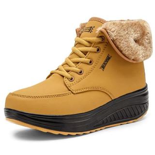 【加绒坡跟摇摇棉靴】防滑厚底高帮保暖雪地靴