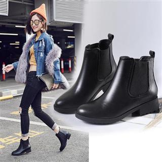 新款英伦风时尚短款一脚蹬女靴(单&绒两种可选)