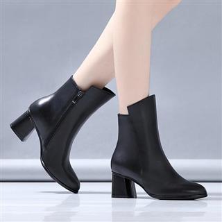 新款粗跟高跟马丁靴(单&绒两种可选)