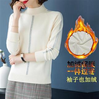 【大码半高领加绒短款毛衣】时尚保暖宽松外穿打底衫