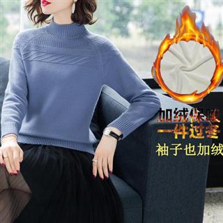 【大码加绒加厚短款宽松毛衣】半高领保暖小款打底衫