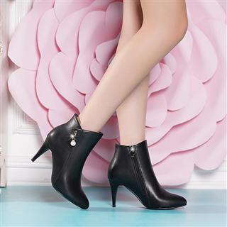 秋冬季新款女靴细跟中高跟马丁靴秋冬款时尚靴子