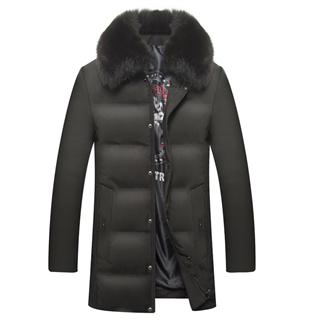 368包邮冬季新款男士可脱卸真毛领纯色时尚修身大码保暖羽绒服外套
