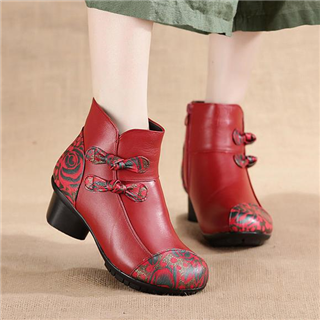头层牛皮民族风拼色短靴 蝴蝶结印花软底 真皮棉靴