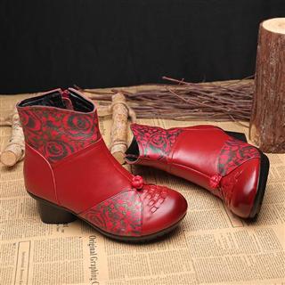 真皮民族风手工编织短靴 印花拼色侧拉链 防滑粗跟棉靴