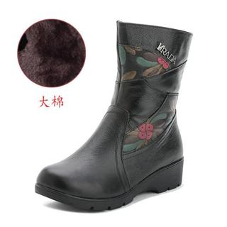 真皮加绒保暖平底靴 时尚侧拉链民族风 印花拼色中筒靴