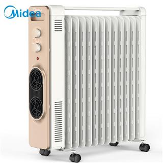 【限时优惠】 美的(Midea)宽片暖风油汀/取暖器/电暖器/电暖气片/暖风机/电热器/电热扇/家用13片自营 HY22D