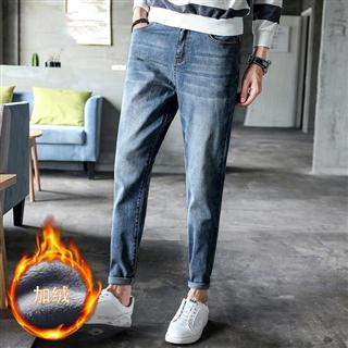 【韩路男装休闲牛仔裤】单绒可选修身小脚裤