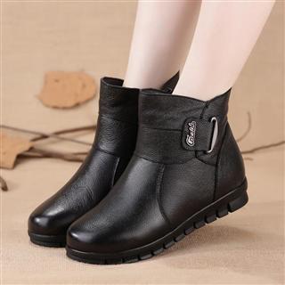 加绒大码平底防滑真皮短靴 加绒保暖棉鞋