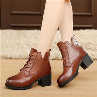 时尚高跟英伦风保暖系带马丁靴 百搭短筒皮靴