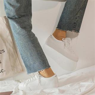 【拼色系带休闲小白鞋】时尚百搭板鞋