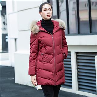 雅鹿中长款羽绒服女加厚2018冬季新款宽松连帽毛领保暖外套