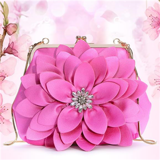 【民族风时尚贝壳链条镶钻花朵手拿包】大容量单肩斜跨包