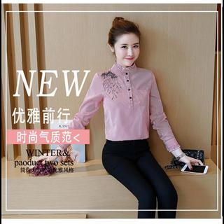 秋冬新款韩版时尚修身显瘦加绒加厚保暖条纹长袖衬衫