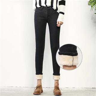 高腰保暖弹力大码显瘦羊羔绒毛牛仔小脚裤