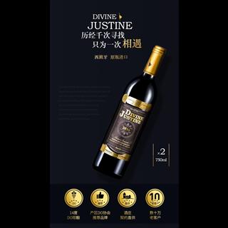 【酒水节】西班牙原瓶原装DO级进口红酒礼盒装 2支装 JHJ干红葡萄酒双支送礼