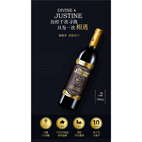 【聚好酒水节】西班牙原瓶原装DO级进口红酒礼盒装 2支装 JHJ干红葡萄酒双支送礼