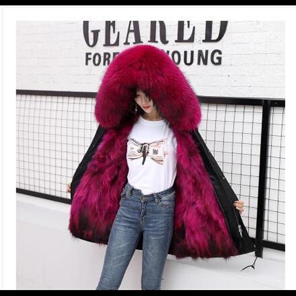 759包邮新款冬貉子狐狸毛内胆派克服女皮草外套中长款可拆卸两穿大衣