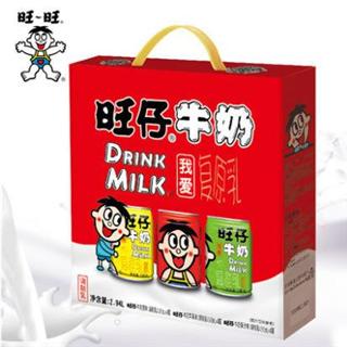 旺旺旺仔牛奶红黄绿铁罐装245ml*12瓶三口味组合装【喝到19年10月】