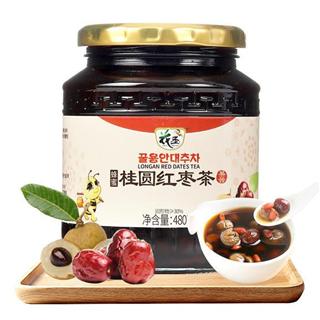 花圣蜂蜜桂圆红枣茶480g/瓶水果酱冲调泡水喝的饮品蜂蜜水果茶