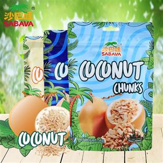 沙巴哇马来西亚椰脆椰子块30g*4袋进口干果干特产零食椰干脆片【原味2袋+蜂蜜味2袋】