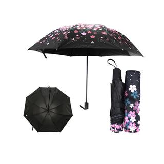 云朵花 三折倒杆防紫外线伞 黑胶布 花瓣