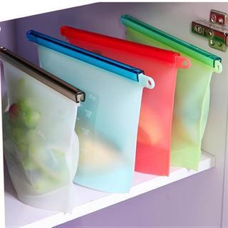 硅胶保鲜袋食品级真空分装自封袋高汤冷冻食品收纳袋4个装(如有颜色需求请备注)