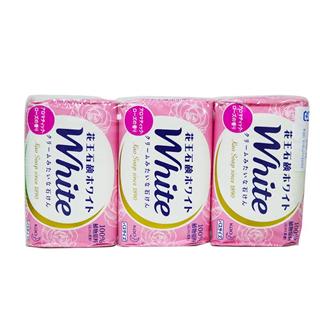 花王WHITE清新沐浴洁面泡沫香皂130g*3块 玫瑰香/柠檬香/优雅花香