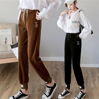 新款灯芯绒休闲裤女式时尚显瘦哈伦裤韩版宽松外穿九分裤