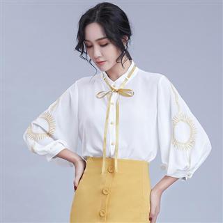 新款灯笼袖开衫撞色刺绣雪纺衫 系带立领无弹宽松小衫