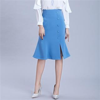纯色纽扣前开叉半身裙新款微弹通勤中裙收腰显瘦鱼尾裙