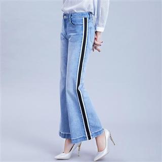 磨白撞色水洗纯棉牛仔裤 新款欧美风中腰微喇浅色长裤