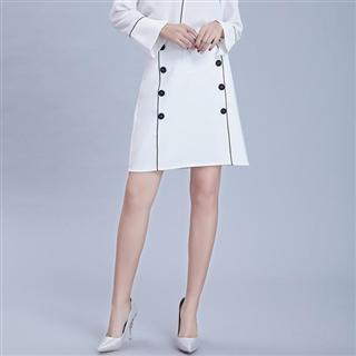 新款半身裙春季无弹撞色A字裙 柔软气质中腰修身通勤短裙