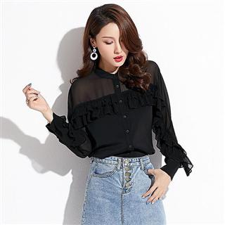 新款名媛女装韩版修身气质荷叶边chic立领上衣雪纺衬衫