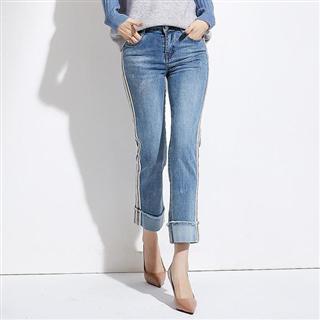 新款韩版休闲百搭高腰直筒九分裤浅蓝色牛仔裤