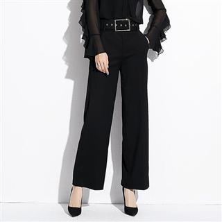 新款品牌专卖店女装韩版阔腿裤长裤子休闲裤女送腰带