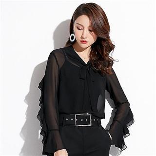 新款韩版女装气质通勤蝴蝶结绑带荷叶边套头雪纺衬衫