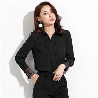 新款精品女装韩版气质女式开衫上衣拼接蕾丝袖衬衫