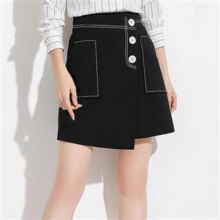 新款韩版女装气质优雅高腰显瘦百搭A字裙短裙撞色半身裙