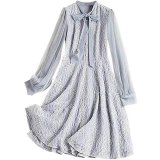 新款女装圆立领网纱连衣裙灯笼袖高腰A字裙