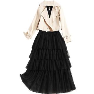 新款时尚短外套拼接高腰网纱蛋糕裙长裙