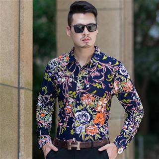 69包邮衬衫男长袖韩版修身花衬衣2019春季新款中青年男装寸衫潮