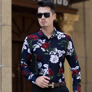 春季2019新款修身衬衫男长袖商务休闲时尚型男男士花衬衣潮
