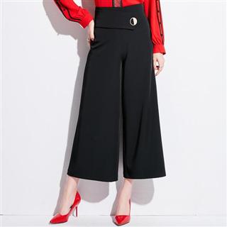 新款显瘦名媛时尚OL气质黑色高腰阔腿九分裤