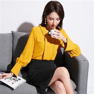 新款气质韩版两件套V领雪纺衬衫+A字鱼尾裙OL套装